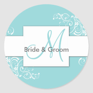 Turquoise Floral Monogram Wedding Stickers