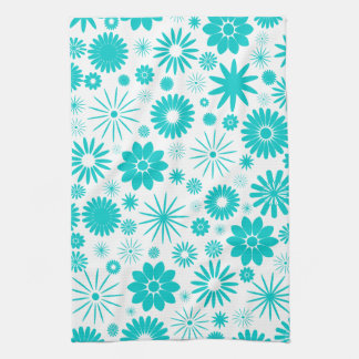Turquoise Floral Pattern Kitchen Towel