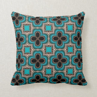 Turquoise Floral Type Fractal Design Throw Pillow