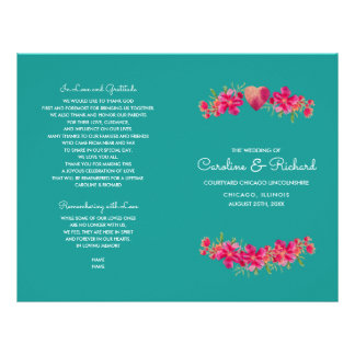 Turquoise Floral Watercolor Wedding Programs
