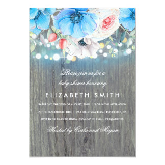 Turquoise Floral Wood Rustic Baby Shower Card