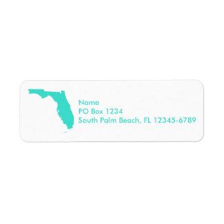 Turquoise Florida Personalized Return Address Label