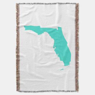 Turquoise Florida Shape Throw Blanket
