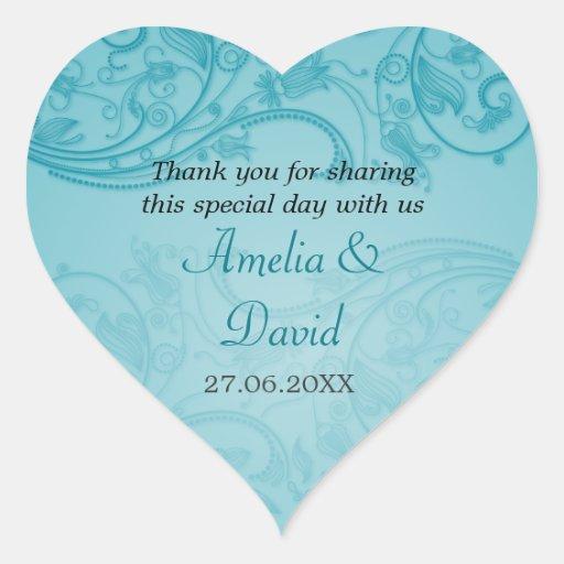 Turquoise Flourish Wedding Sticker