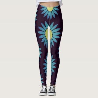 Turquoise Flower Leggings