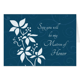 Turquoise Flower Matron of Honor Invitation Card