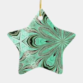 Turquoise flower pattern (K361) Ceramic Ornament