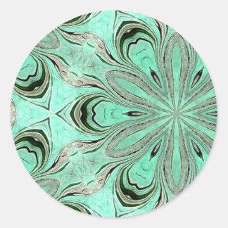 Turquoise flower pattern (K361) Classic Round Sticker