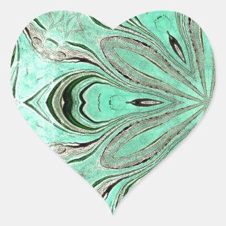 Turquoise flower pattern (K361) Heart Sticker