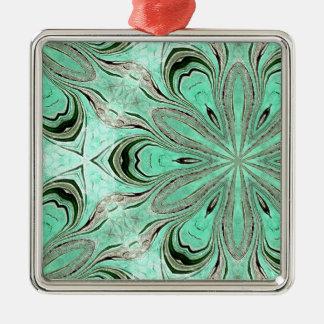 Turquoise flower pattern (K361) Metal Ornament