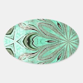 Turquoise flower pattern (K361) Oval Sticker