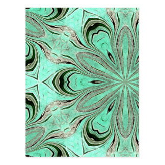 Turquoise flower pattern (K361) Postcard