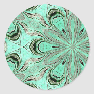 Turquoise flower pattern (K361) Round Sticker