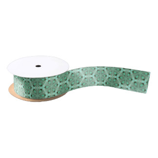 Turquoise flower pattern (K361) Satin Ribbon