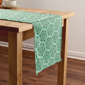 Turquoise flower pattern (K361) Short Table Runner