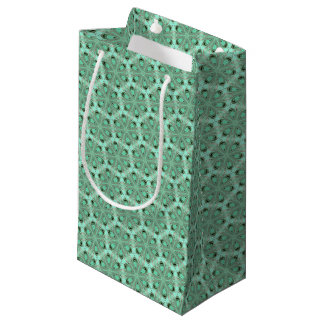 Turquoise flower pattern (K361) Small Gift Bag