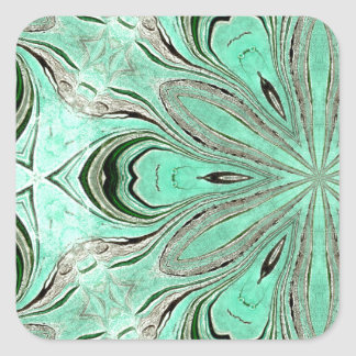 Turquoise flower pattern (K361) Square Sticker
