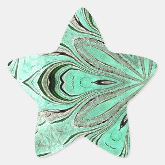 Turquoise flower pattern (K361) Star Sticker