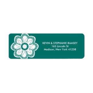Turquoise Flower Return Address Label