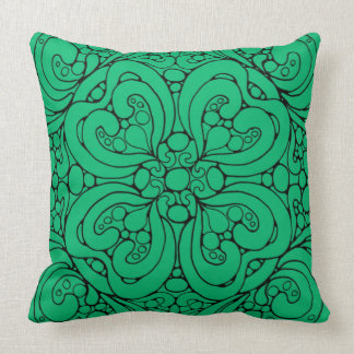TURQUOISE FLOWER SQUARE THROW PILLOW