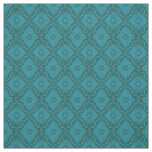 """Turquoise flowers"" floral arabesque pattern Fabric"