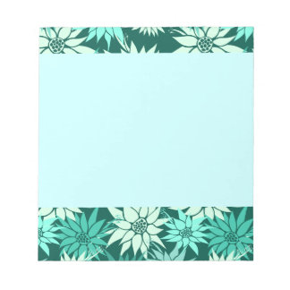 Turquoise Flowers Notepad