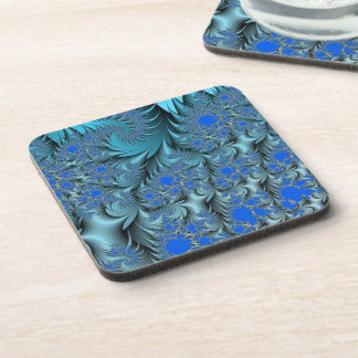Turquoise Fractal Drink Coasters