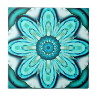 Turquoise Fractal Flower Bathroom Tile