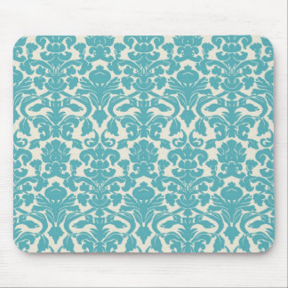 Turquoise French Damask Mouse Pad