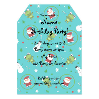 Turquoise frogs santa claus snowmen 5x7 paper invitation card