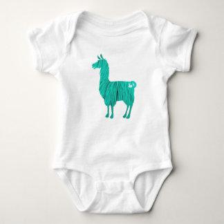 Turquoise Furry Llama Baby Bodysuit