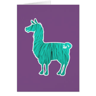Turquoise Furry Llama Greeting Card