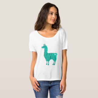 Turquoise Furry Llama Ladies Slouchy T-Shirt