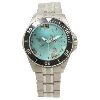 Turquoise Gemstone Image Men's Stainless Steel Wristwatch