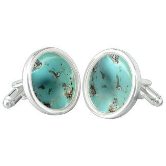 Turquoise Gemstone Image Round Cufflinks