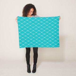 Turquoise Geometric Diamond Pattern Fleece Blanket