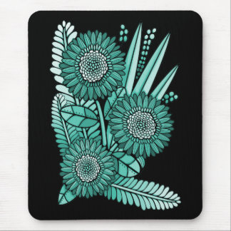 Turquoise Gerbera Daisy Flower Bouquet Mouse Pad
