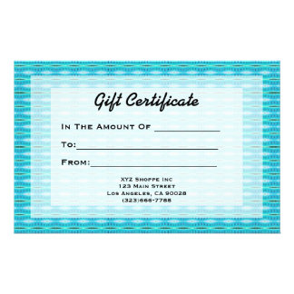 Turquoise Gift Certificate Stationery