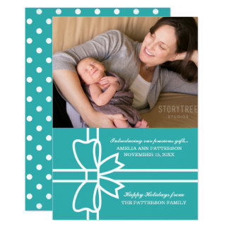 Turquoise Gifted Holiday Photo Flat Card