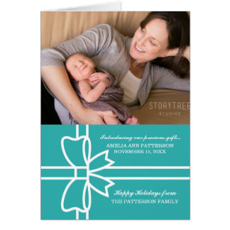 Turquoise Gifted Holiday Photo Greeting Card
