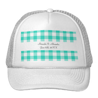 Turquoise gingham pattern wedding favors hats