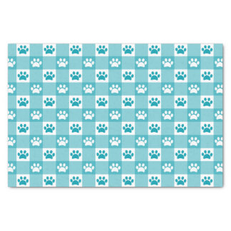 Turquoise Gingham with Paws Tissue Paper