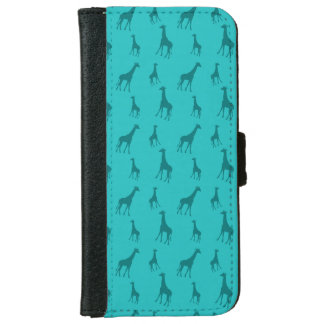 Turquoise giraffes iPhone 6 wallet case