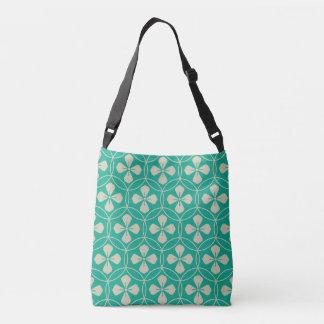 Turquoise glam diamond geometric floral pattern tote bag