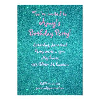 Turquoise glitter birthday invitation