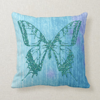 Turquoise Glitter Butterfly Aqua Blue Watercolor Throw Pillow