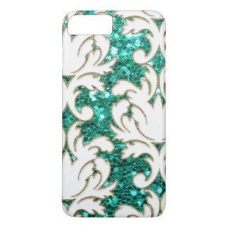 Turquoise Glitter Damask iPhone 8 Plus/7 Plus Case