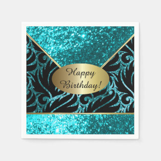 Turquoise Glitter Designer Background Disposable Napkin