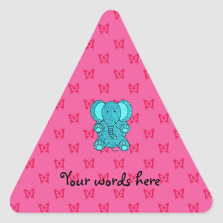 Turquoise glitter elephant pink butterflies triangle sticker