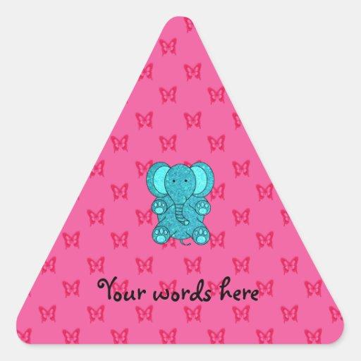 Turquoise glitter elephant pink butterflies triangle sticker